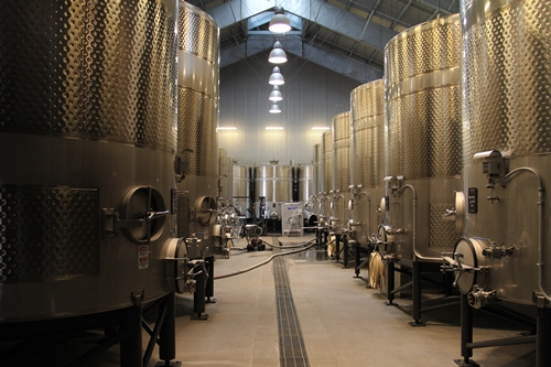 image of the large steel tanks in the cuverie at Silver Oak Cellars