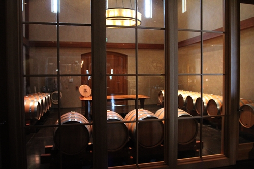 image of the small barrel room (Chai), found at the tasting room of Silver Oak Cellars