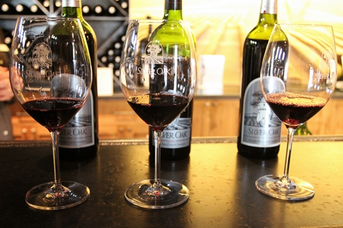 image of glasses from a wine tasting at Silver Oak Cellars