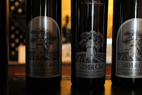 image of bottle line up from a tasting at Silver Oak Cellars