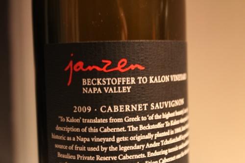 2009 Janzen To Kalon Cabernet backside